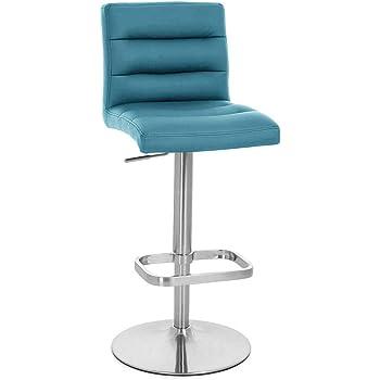 Amazon.com: Zuri Furniture Teal Lush Adjustable Height Swivel Armless Bar Stool: Furniture & Decor