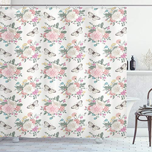 """Ambesonne Shabby Flora Shower Curtain, Peonies Peas Roses Bouquet Butterflies Pastel Tones Bridal Theme, Cloth Fabric Bathroom Decor Set with Hooks, 75"""" Long, Pink Green"""