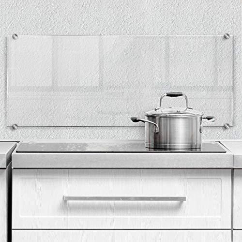 Herd Spritzschutz Küche transparent Küchenrückwand Klarglas Sicherheitsglas durchsichtig mit Befestigung Edelstahl 80x30 cm