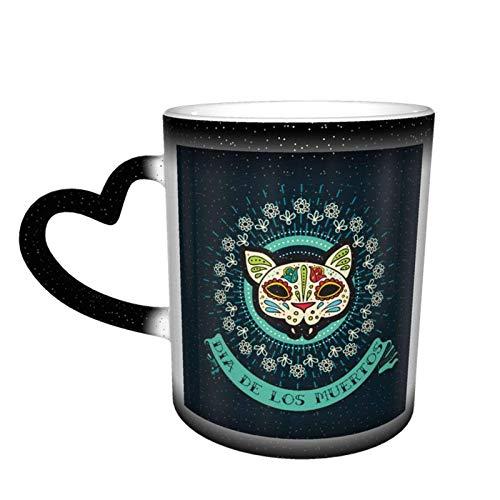 Día de los muertos Taza con diseño de calaveras de azúcar Taza de café Diseño de cerámica Taza sensible al calor Taza que cambia de color en el cielo, 11 oz
