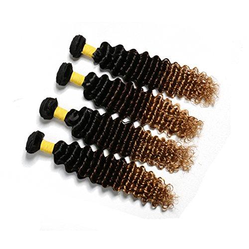 HmtAfro Extensions de cheveux brésiliens de qualité 9A, 400 grammes, dégradé profond (#1b-#4-#30) (50,8 cm, 50,8 cm, 50,8 cm, 50,8 cm, 50,8 cm, 50,8 cm)