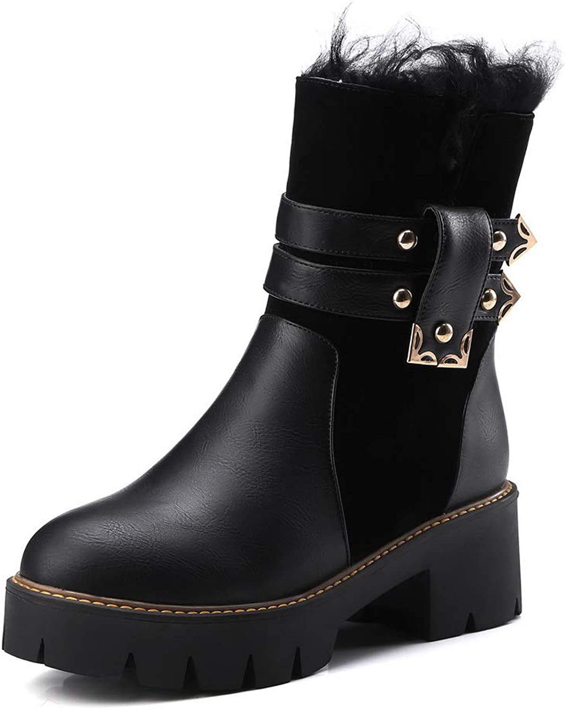 AdeeSu Womens Chunky Heels Platform Grommets Urethane Boots SXC03824