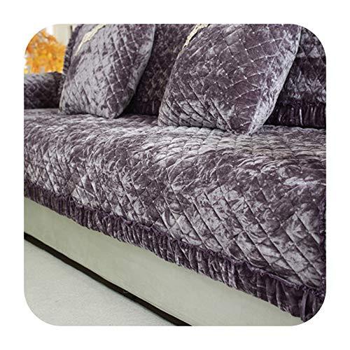 KASHINO Cojín de sofá de felpa antideslizante para verano europeo, cojín universal para cuatro estaciones, funda completa de sofá N-90x120 cm