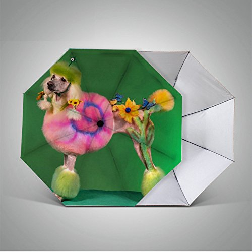 Reis compacte paraplu winddichte mini zon & regen parasol Ultra licht parasol - UV-bescherming paraplu voor auto, cadeau keuze Custom -133.gek uitziende hond