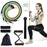 WANFEI Exercise Resistance Bands Set Fitness Stretch Workout Bands Kits with 5 Stackable Exercise...