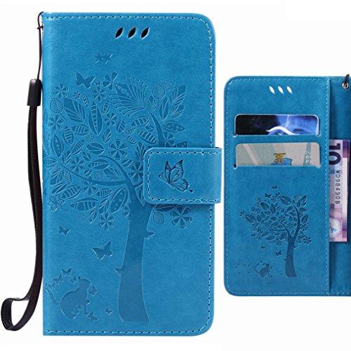 Handyhülle für Huawei Mate S Hülle Tasche, Ougger Baum Katze Druck BriefHülle Tasche Schale Schutzhülle PU Leder Weich Magnetisch Stehen Silikon Flip Cover mit Kartenslot (Blau)