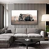 Wfmhra Elefante grúa Carteles de oración e Impresiones Arte de Pared Abstracto Impresiones de Lienzo de Pared póster imágenes decoración del hogar nórdico 50X80cm sin Marco