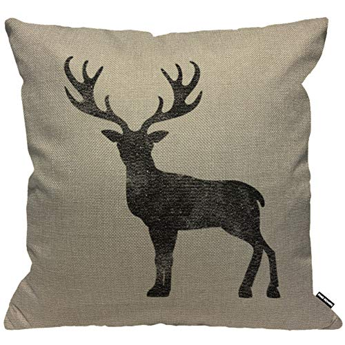 HGOD DESIGNS Cushion Cover Vintage Stag Black Deer Antlers,Throw Pillow Case Home Decorative for Men/Women Living Room Bedroom Sofa Chair 18X18 Inch Pillowcase 45X45cm