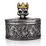Volwco - Joyero con diseño de calavera con corona, mini vitrina de almacenamiento para anillos, pendientes, joyas, caja de regalo, color gris