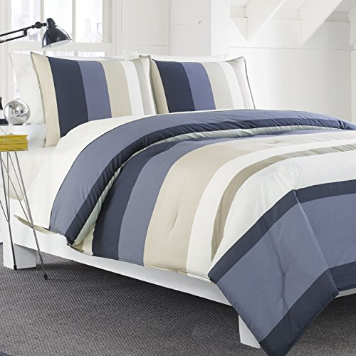 Nautica Grand Bank Duvet Cover Set, Blue/Tan, Striped, Full/Queen