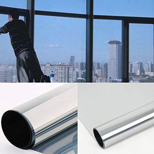 DiversityWrap Silberne Solar-Reflektierende Einweg-Spiegel-Fensterfolie, 15% Sichtschutz, Aufkleber Glas getönt, 100 cm (3 m x 100 cm)