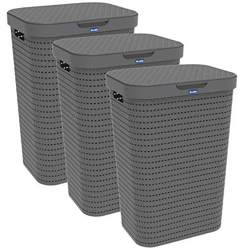 Rotho Country 3er-Set Wäschesammler 55l mit Deckel, Kunststoff (PP) BPA-frei, anthrazit, 3x55l (42,0 x 32,2 x 57,7 cm), 42 x 32, 3