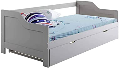 Single Wooden Timber Solid Pine Daybed with Trundle Bed Frame Kids Grey