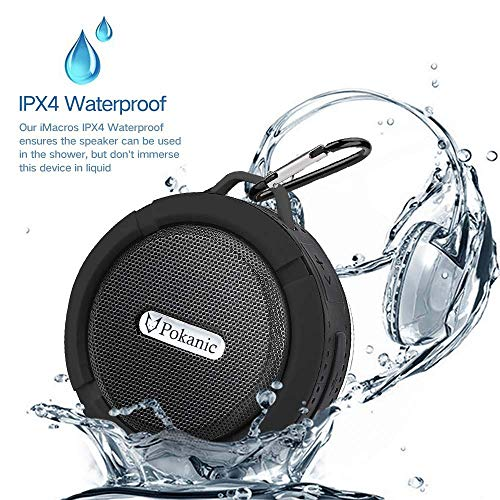 HD Water Resistant Bluetooth Shower Speaker C6, POKANIC Waterproof Handsfree Portable Speakerphone Built-in Mic,Outdoor Indoor Camping Bath Bike Pool, Control Buttons Dedicated Suction Cup (Black)