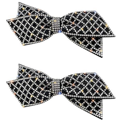 SOIMISS 2pcs Large Bow Hair Clips Rhinestone Hair Pins Bowknot Alligator Clips Barrette Glitter Bobby Pins for Women Girls Party Hair Accessories (Black)