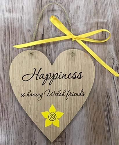 FSSS Ltd Holzschild mit Aufschrift Happiness is Having walisische Freunde, Shabby Shic, Wales, Cymru