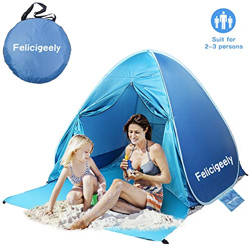 Felicigeely Beach Tent,UPF 50+ Portable Pop up Sun Shelter with Carry Bag,Automatic Beach Sun Shade Beach Tents with Carry Bag Fit 2-3 Person (Blue)