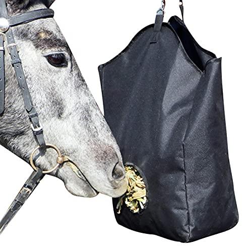 Kisbeibi Bolsa de heno de caballo, alimentador de escamas de heno, bolsa grande de alimentación con correas para caballos, vacas, ganado, ovejas y animales de granja, tela Oxford negra