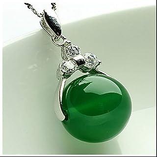 Jadeanhänger, modische weibliche Silberkette mit eingelegtem JadeSilber