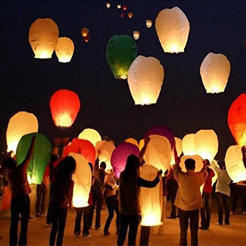 FomCcu Lot de 5 lanternes volantes Kong Ming - Pour Halloween
