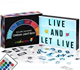 Color Changing Cinema Light Box with Letters - 354 Total Letters, Numbers & Emojis   16 Colors Remote-controlled PREMIUM Cinematic Marquee Sign Light Box   NEW for 2021! LED Light Up Letter Box Sign