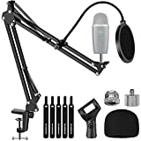"""InnoGear Microphone Stand, Adjustable Mic Stand Set for Blue Yeti Nano Suspension Boom Scissor Arm Stand with 5/8"""" to 3/8"""" Screw, 5/8"""" to 1/4 Screw, Nano Mic Windscreen and Dual Layered Mic Pop Filter"""