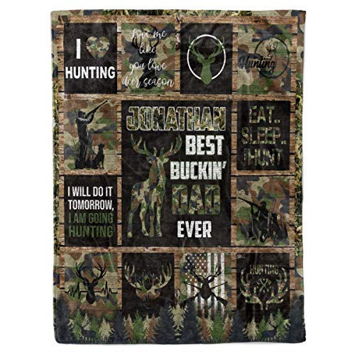 Personalized Best Buckin Dad Ever Sherpa Fleece Throw Blanket King Queen Full Twin Size Bucking Hunting Birthday for Daddy Father Hunters from Kids Son Daughter Wife