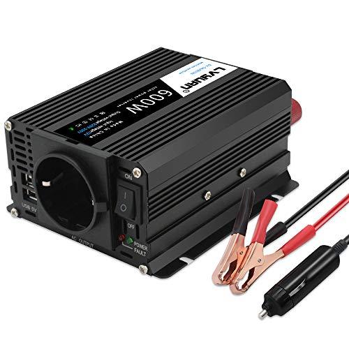 Inversor 12v a 220v - 240V 600W Cantonape Onda Sinusoidal Modificada Transformador 12v a 220v Conversor con 2 Puertos USB y 1 Enchufe de AC Diseño de Aluminio, con Mechero de Coche…