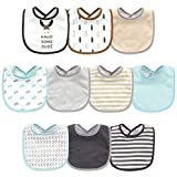 Hudson Baby Unisex Cotton and Polyester Bibs, HANDSOME MOOSE, One Size