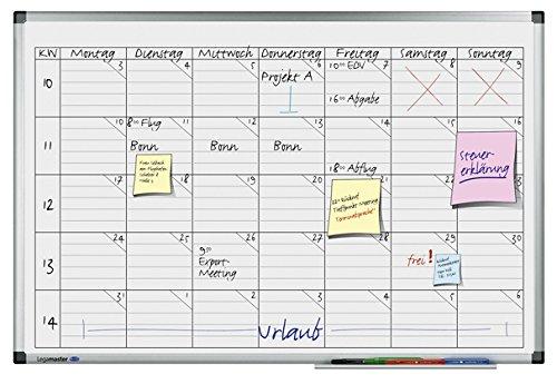 Legamaster 7-418000 Premium Universele planner, UV-gehard whiteboard, weekoverzicht met 5 rijen, 90 x 60 cm