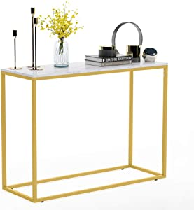 Console Table Gold Narrow Console Table, Marble Table Top with Gold Metal Frame for Entry Living Room Hall Sofa