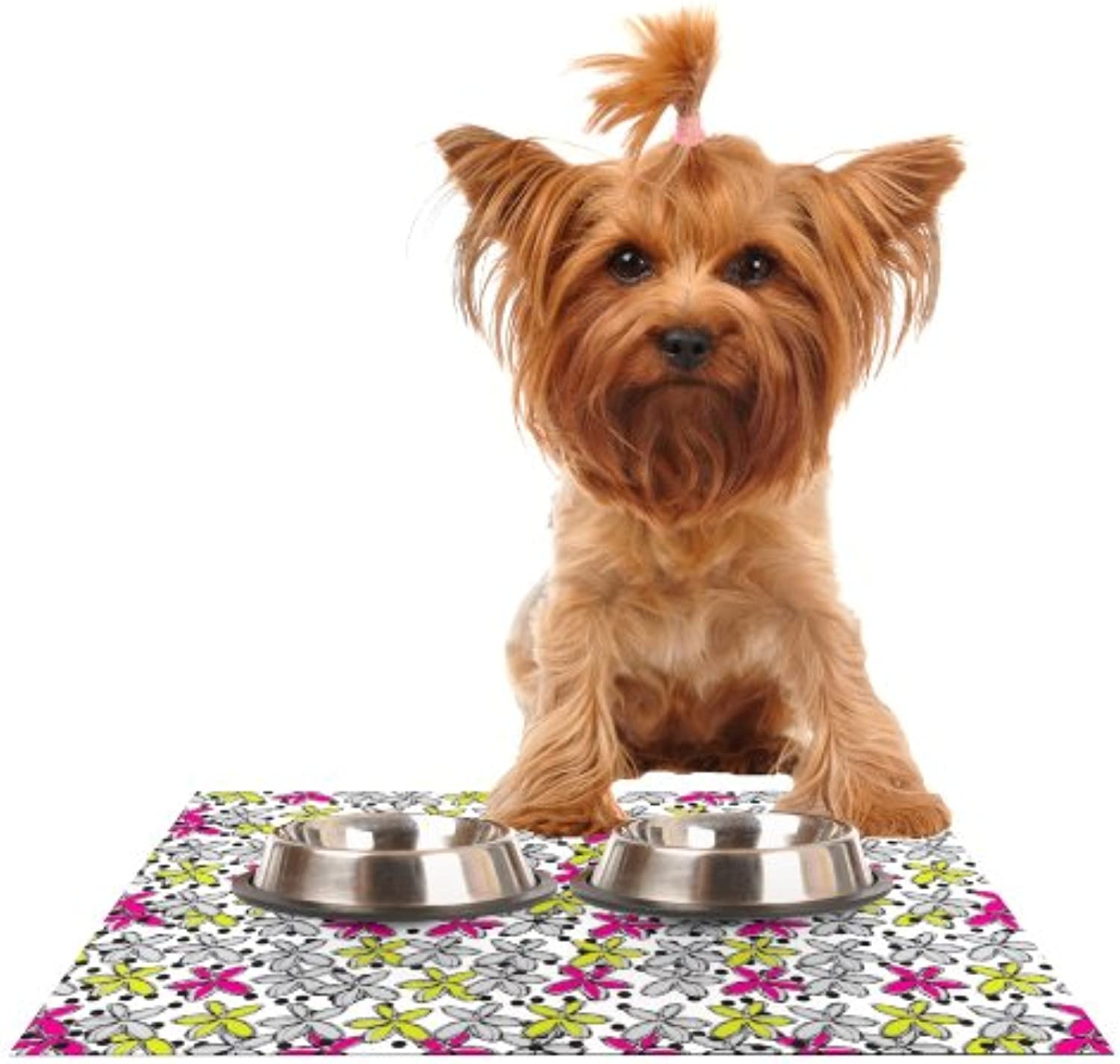 Kess InHouse Nandita Singh Floral Spread  Pink Yellow Feeding Mat for Pet Bowl, 18 by 13Inch