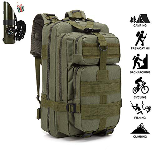 DOTBUY 30L Military Attack Tactic Backpack Hiking Rucksack Waterproof Travel Bag Unisex Outdoor Camping Mountaineering Walking Cycling Climbing Oxford Fabric Daypack (30L,Army green)