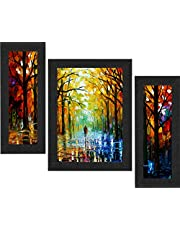 SAF Set of 3 Walking Couple Watercolor UV Coated Home Decorative Gift Item Framed Painting 13.5 inch X 22.5 inch