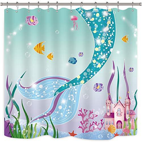 Riyidecor Meerjungfrauenschwanz, Badevorhang, Schloss, Fisch, bunt, Fair Märchen, Meerjungfrauenmotiv, Stoff mit Haken, 183 x 183 cm, Blau/Rosa