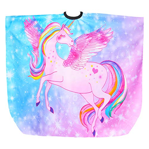 Kids Haircut Cape, Unicorn Dinosaur Barber Cape with Adjustable Neckline, Hair Cutting Cover Apron Gown for Girls Boys (Pink Unicorn)