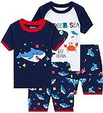 little Boys Shark Pajamas Summer Kids 4 PCs Cotton Pyjamas Children Clothes 5t