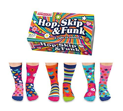 United Oddsocks - Set da 6 Calze Singole Spaiate da Abbinare a Caso, Bambine/Ragazze - Modello: Hop Skip & Funk (30.5-38.5)