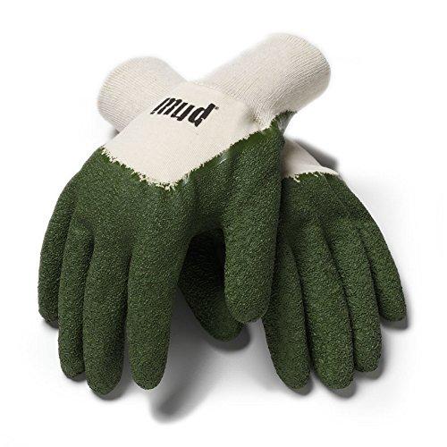 Mud Glove. Large. Green. Long Lasting. Machine Washable. Cotton & Latex