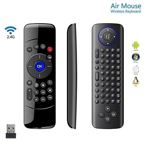 Koiiko - Mini tastiera wireless 2,4 G, telecomando a infrarossi e sensore giroscopio a 6 assi per PC, HTPC, Smart TV, set-top box, lettore di rete, mini PC, console di gioco Media Player