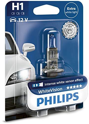 Philips 12258WHVB1 White Vision Lampada Alogena H1, 12V 55W, 60% di Luce in Più sulla Strada, 4300K