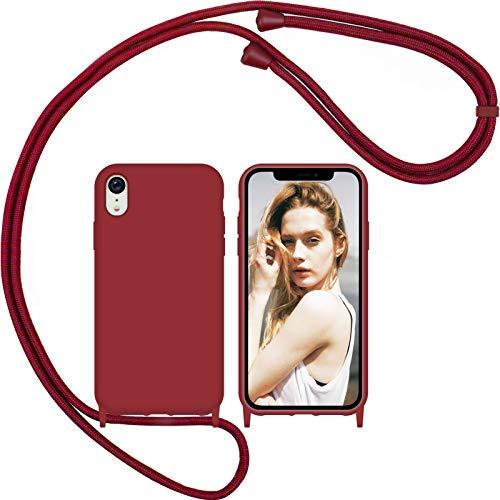 Nupcknn Funda Silicona Líquida con Cuerda para iPhone XR, Carcasa Suave Silicona Case con Correa Colgante Ajustable Collar Correa de Cuello Cadena Cordón (Rojo)