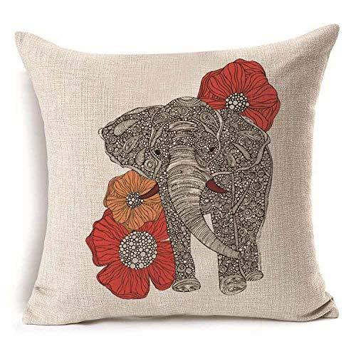 ouyalis Fundas Cojines Funda de cojín de cojín de Lino de algodón con patrón de Elefante Colorido, Funda de Almohada Decorativa para sofá de casa y Coche-E