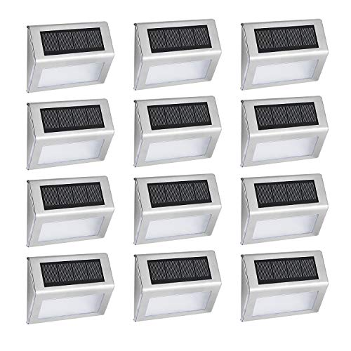 12 Pack Solar Deck Lights Bright 4 LED Stair Lights Auto On/Off Waterproof Stainless Steel Outdoor Step Lights for Fences Pathway Wall Paths (White Light)