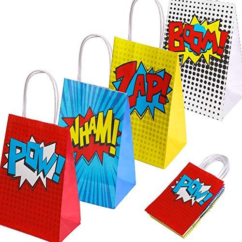 Favores de artículos para fiestas de superhéroes, bolsos de fiesta de superhéroes para decoraciones de fiestas de cumpleaños con tema de superhéroes, juego de 16