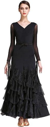LRR Robe De Danse De Salon pour Adulte en Maille à Manches Longues en Perspective, Costume De Danse , Jupe De Danse De Formation De V-Cou Moderne (Couleur   noir, Taille   S)