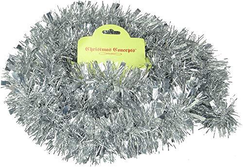 Christmas Concepts® 2 Meter Chunky/Fine Weihnachten Tinsel - Weihnachtsdekoration - hochwertige Tinsel (Silber 2)