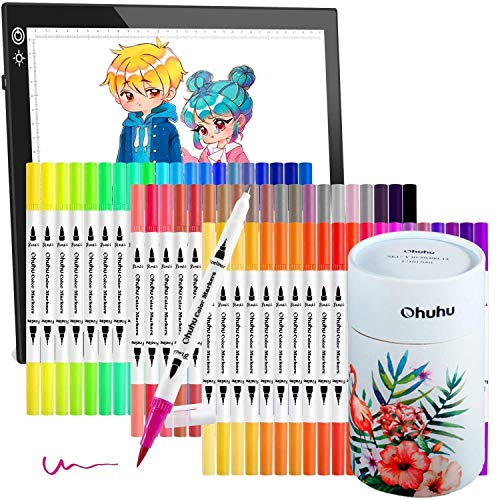 Ohuhu Art Markers Dual Tips Coloring Brush Fineliner Color Pens, 60 Colors Water Based Marker+LED Light Box, A4 LED Artcraft Tracing Pad with 3 Colors USB Powered Dimmable Light Board for Christmas