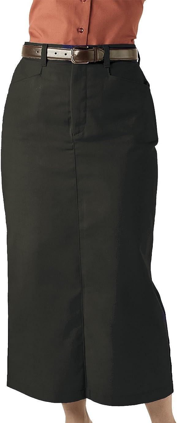 Edwards Garment Women's Chino Long Length Wrinkle Skirt, Black, 10 R