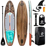 Highpi Inflatable Stand Up Paddle Board 11'x33''x6''W Premium SUP Accessories & Backpack, Wide Stance, Surf Control, Non-Slip Deck, Leash, Paddle and Pump, Standing Boat for Youth & Adult…
